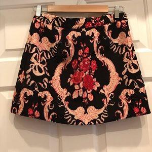 Forever 21 Black And Pink Floral Brocade Skirt